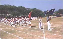 The Inter-House March past being led by the School Captain, Y.Sanhitsagar